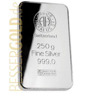 Silberbarren 250 Gramm • UMICORE • 999/1000 • Vorderseite • (Deutschland)