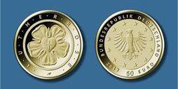 Satz Goldmünzen 100 EUR - Kloster Lorsch 1/2 oz - A, D, F, G,J (Deutschland 2014)