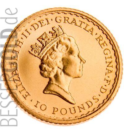 Britannia • 1/10 Feinunze Gold • 916,67/1000 • Britannia-Seite (Großbritannien) 500px • bis 2012