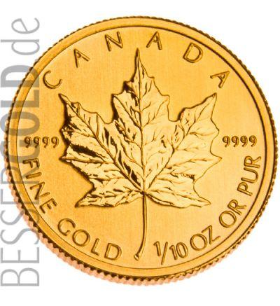 Maple Leaf • 1/10 Feinunze Gold • 999,9/1000 • (Kanada) • Ahornblatt-Seite