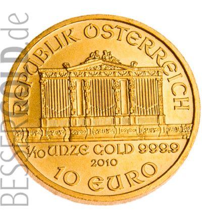 Wiener Philharmoniker • 1/10 Feinunze Gold • 999,9/1000 • (Münze Österreich) • Orgelseite