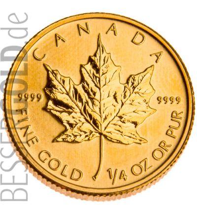 Maple Leaf • 1/4 Feinunze Gold • 999,9/1000 • (Kanada) • Ahornblatt-Seite