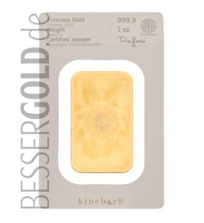Kinebarren • 1 Unze Feingold • 999,9/1000 • Heraeus (Deutschland) • Vorderseite im Blister