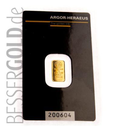 Goldbarren 1 Gramm • 999,9/1000 • Heraeus (Deutschland) • Vorderseite im Blister - 265px