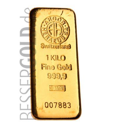 Goldbarren 1000 Gramm • 999,9/1000 • Argor-Heraeus • Vorderseite • 265 px