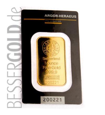 Goldbarren 1 Feinunze Heraeus • Feinheit 999,9/1000 • Vorderseite im Blister - 265px
