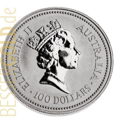 Koala • 1 Feinunze Platin • 999,5/1000 • The Perth Mint (Australien) • Beutelbär-Seite