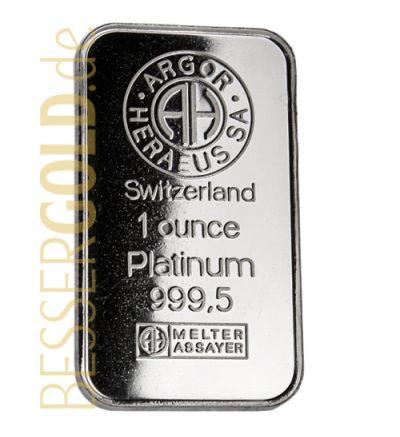 Platinbarren 1 Feinunze • UMICORE (Deutschland) • 999,5/1000 • Vorderseite • 265px