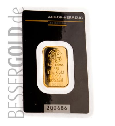 Goldbarren 10 Gramm Heraeus Verpackung Vorderseite
