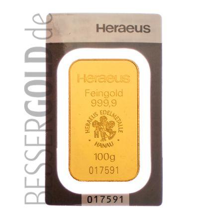 Goldbarren 100 Gramm Heraeus (gegossen) • Feinheit 999,9/1000 • Vorderseite - 265px