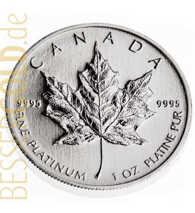 Maple Leaf • 1 Feinunze Platin • 999,5/1000 • (Kanada) • Ahornblatt-Seite