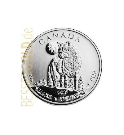 Wildlife Wolf • 1 Feinunze Silber • 999,9/1000 • (Kanada) • Motiv-Seite • 265 px