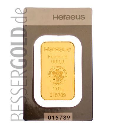 Goldbarren 20 Gramm • 999,9/1000 • Heraeus (Deutschland) • Vorderseite im Blister - 265px