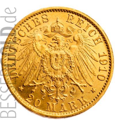 Goldmünze 20 Reichsmark Wilhelm II. (Deutsches Reich) - Portraitseite - 265 px