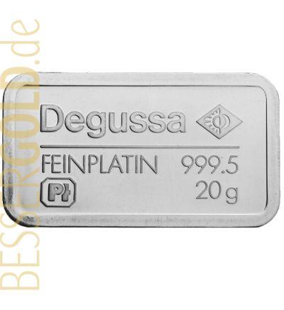 Platinbarren 20 Gramm • Degussa • 999,5/1000 • Vorderseite • 265 px