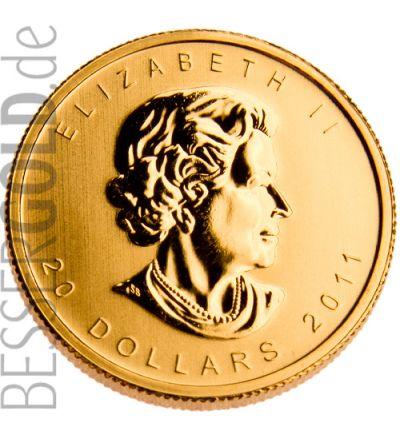 Maple Leaf • 1/2 Feinunze Gold • 999,9/1000 • (Kanada) • Ahornblatt-Seite