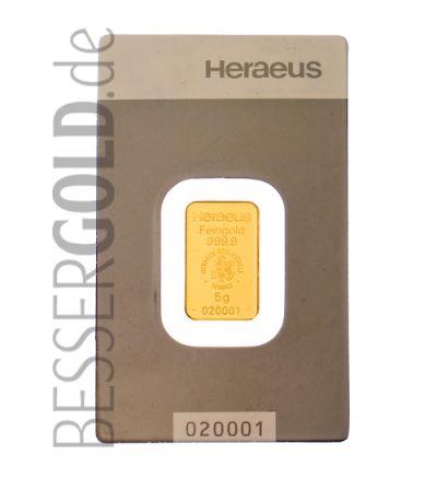 Goldbarren 5 Gramm Heraeus • 999,9/1000 • Vorderseite im Blister • 265px
