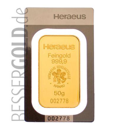 Goldbarren 50 Gramm Heraeus (Deutschland) • Feinheit 999,9/1000 • Vorderseite im Blister • 265x