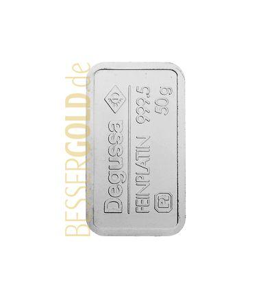 Platinbarren 50 Gramm • Umicore / Heraeus / Argor-Heraeus / Degussa • 999,5/1000 • Vorderseite • 265px