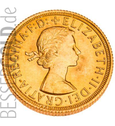 Sovereign Goldmünze • Portrait Elisabeth II. • 916,67/1000 • (Großbritannien) • Portraitseite