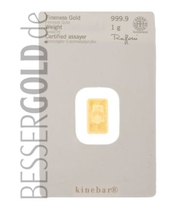 Kinebarren • 1 gr Feingold • 999,9/1000 • Heraeus (Deutschland) / Argor-Heraeus (Schweiz)  • Vorderseite in Blister • 265px