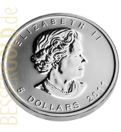 Maple Leaf • 1 Feinunze Silber • 999,9/1000 • (Kanada) • Leaf-Seite