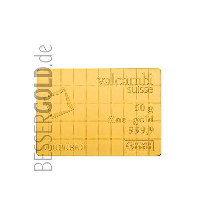 Goldbarren CombiBar 50x 1 Gramm • 999,9/1000 • Valcambi (Schweiz) • Vorderseite • 265px