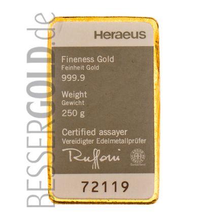 Goldbarren 250 Gramm Heraeus - Vorderseite 265 px