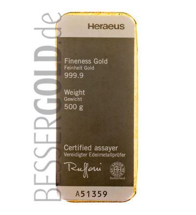 Goldbarren 500 Gramm • 999,9/1000 • Heraeus (Deutschland) • Vorderseite