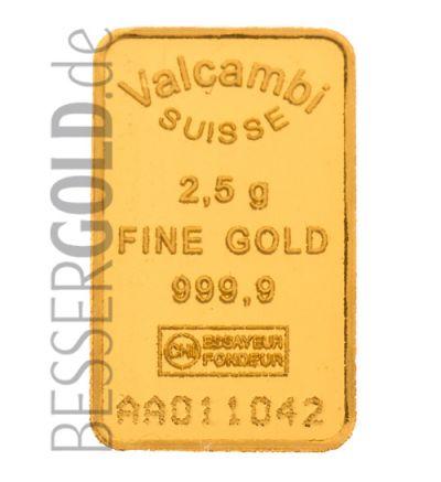 Goldbarren 2,5 Gramm Valcambi • Feinheit 999,9/1000 • Vorderseite im Blister • 500px
