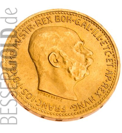 20 Kronen Goldmünze Österreich - Portraitseite - 265 px