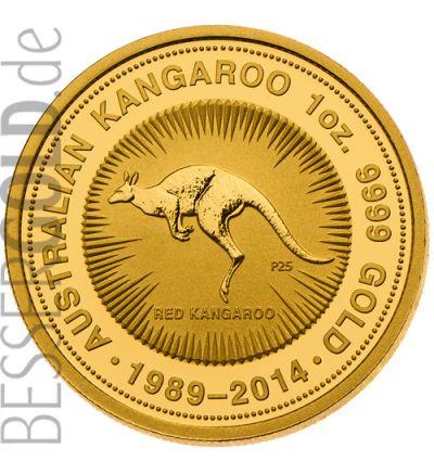 Kangaroo 25- jähriges Jubiläum 1 oz Feingold (Australien) 2014 - Motivseite 265px