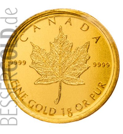 Maplegram 25x1g Maple Leaf Gold (Kanada) - Motivseite - 265 px