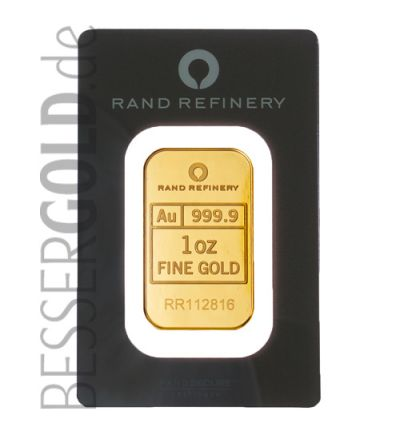 Goldbarren 1 Feinunze • 999,9/1000 • Rand Refinery