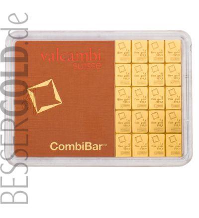 Goldbarren CombiBar 20x 1 Gramm • 999,9/1000 • Valcambi (Schweiz) • Blister Vorderansicht • 265px