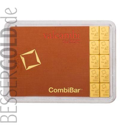 Goldbarren CombiBar 10x 1 Gramm • 999,9/1000 • Valcambi (Schweiz) • Blister Vorderansicht • 265px