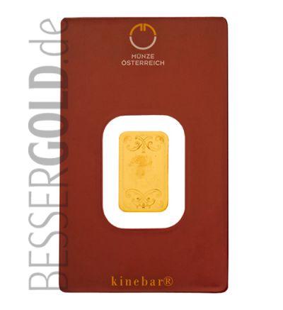 Kinebarren 5 Gramm Feingold • 999,9/1000 • Heraeus (Deutschland) / Argor-Heraeus (Schweiz) • Vorderseite mit Barrennummer • 265px