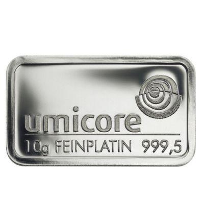 Platinbarren 10 Gramm • UMICORE • 999,5/1000 • Vorderseite • 265 px