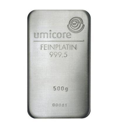 Platinbarren 500 Gramm • Umicore • 999,5/1000 • Vorderseite • 265px