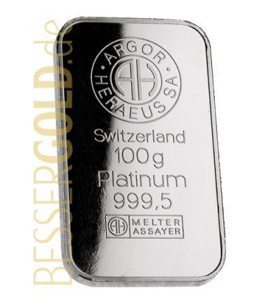 Platinbarren 100 Gramm • Umicore • 999,5/1000 • Vorderseite • 265px