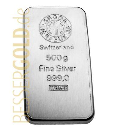 Silberbarren 500 Gramm • Umicore • 999/1000 • Vorderseite • (Deutschland/Belgien)