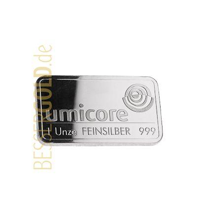 Silberbarren 1 Feinunze • UMICORE • 999/1000 • Vorderseite • (Deutschland/Belgien)