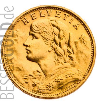 Vreneli 20 Schweizer Franken (Vorderseite) 265 px